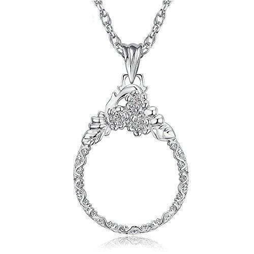 Handlupe Klassische Lupe Glas Konvexlinse Alter Mann Lesebrille 2X Dame Halskette Lupe Silber Durchmesser 41Mm Halskette 650Mm