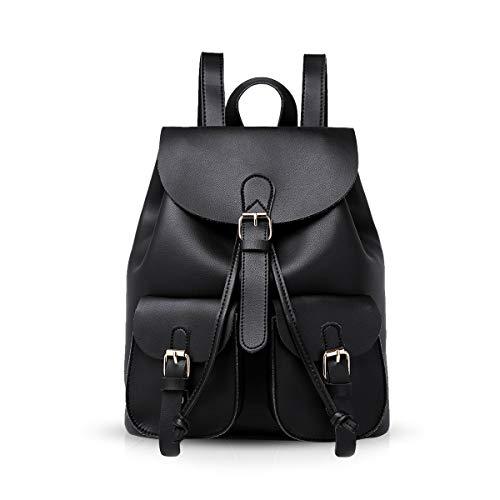 NICOLE & DORIS Damen Rucksack Modischer Frauenrucksack Lässiger Rucksack für Damen Daypack Handtaschen Schulrucksäcke Tasche Schwarz