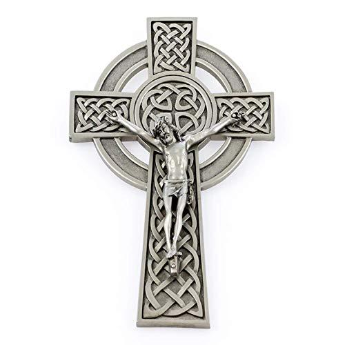 Pewter Catholic Irish Knotted Celtic Cross Crucifix Religious Wall Decor, 8 Inch