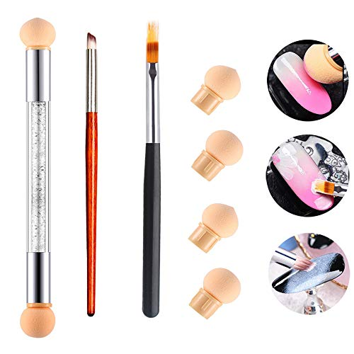 3Pcs Nail Gradient Sponges Brush Pens Kit, AKWOX 3 Differents UV Gel Nail Art Brush Gradient Ombre Brushes Double Head Nail Sponge Painting Pen with 4 Replacement Heads