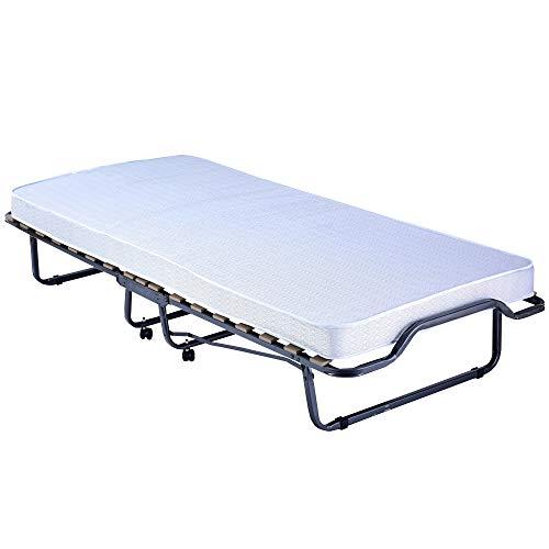 DILUMA Gästebett Premium 90x200 cm klappbares Bett mit stabilem Metallrahmen mit Matratze und Holz-Lattenrost - Metallbett mit Rollen Klappbett bis 100 kg belastbar