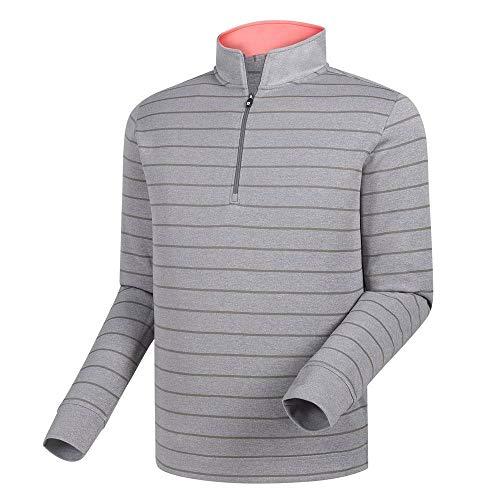 Footjoy Double Layer Stripe Half-Zip Mid Layer Sweater - Grey -Previous Season Style (XL)
