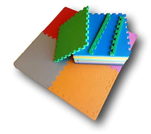 Kit 6 Tapetes Tatames Coloridos EVA 50 x 50 x 1cm com Borda