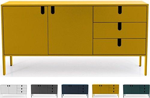 Tenzo 8555-029 UNO Designer Sideboard 2 Türen, 3 Schubladen, Senf lackiert, MDF + Spanplatten, matt Soft-Close Funktion, 86 x 171 x 46 cm (HxBxT)