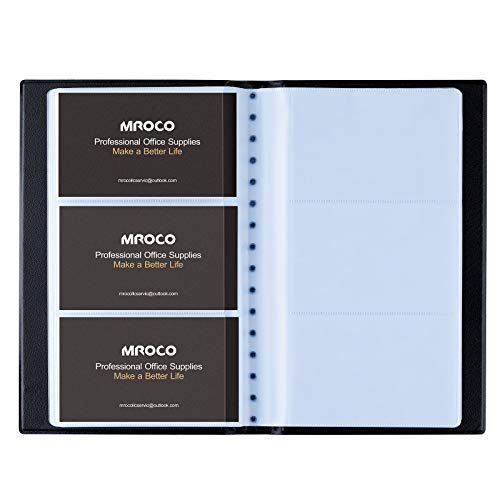 MROCO Professional Business Card Organizer Business Card Holder Book, PU Leather Business Card File Business Card Binder Name Card Holder for Home & Office, Capacity: 300 Cards, Black