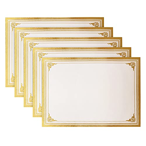 SUNEE 100 Sheets Certificate Papers - Blank Gold Foil Border, Letter Size 8.5x11 for Diploma, Certificates, Participation Awards, Document Cardstock Paper and Inkjet Printer Friendly