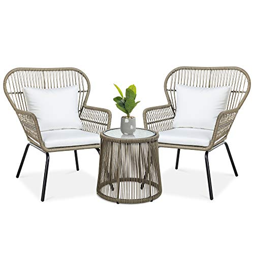 Best Choice Products 3-Piece Patio Conversation Bistro Set, Outdoor All-Weather Wicker Furniture for Porch, Backyard w/ 2 Wide Ergonomic Chairs, Cushions, Glass Top Side Table - Tan