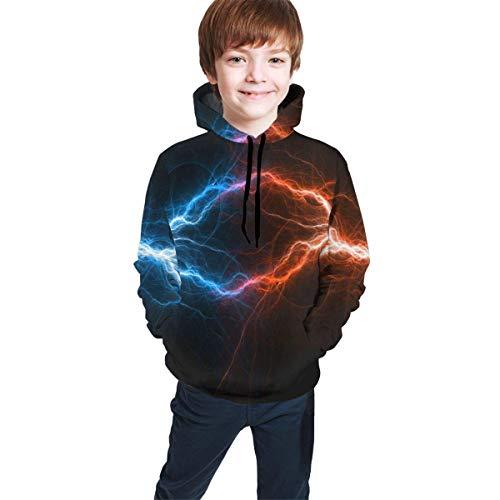 Voxpkrs Feuer und EIS Fractal Lightning Unisex Kinder 3D Graphic Hooded Sweatshirt Casual Pullover