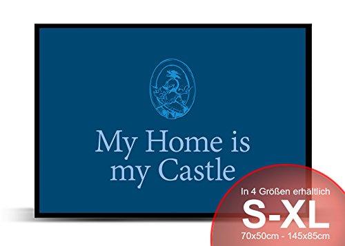 Printalio - Castle Blau - Schmutzmatte Bodenvorleger Fussmatte Türmatte Abtreter Abstreifer gummierter Rand rutschfest waschbar individuell   70 cm x 50 cm