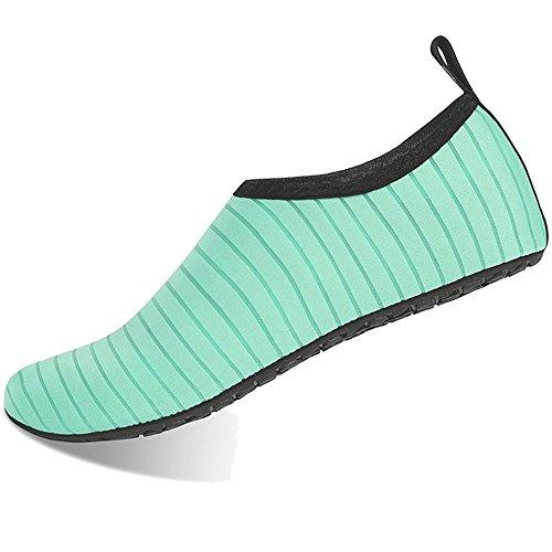 BIGU Aquaschuhe Wasserschuhe Damen Herren Kinder Yoga Badeschuhe Strandschuhe Schnell Trocknend Surfschuhe Schwimmschuhe mit Rutschfeste Sohlen Neoprenschuhe Barfuß Schuhe, Grün, 38/39 EU