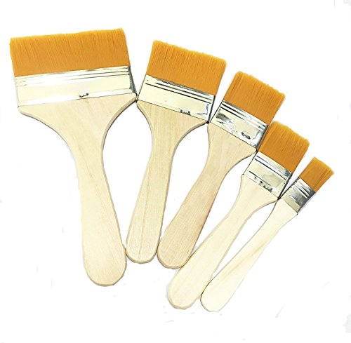 Polyester Bristle Paint Brush,Cleaning Brush,Board Brush,Dusting Brush,Anti-Static Brush with Wooden Handlee,Different Size(12.8cm,14cm,15cm,15.5cm,17cm)5 Pack per Set