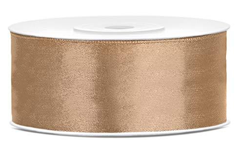 Libetui Satinband Gold 25mm Schleifenband Gold Satin Dekoband Gold Geschenkband Deko Band für Weihnachten, Weihnachtsdeko, Geschenkverpackung Gold Ribbon Hochzeit Deko 25m Gold