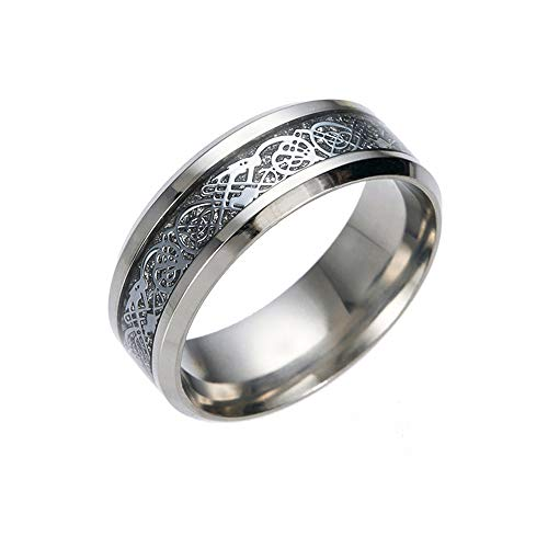 Positive Costume Celtic Dragon Titanium Stainless Steel Ring Wedding Band Rings for Men Jewelry Size 5-13 (Silver, 9)