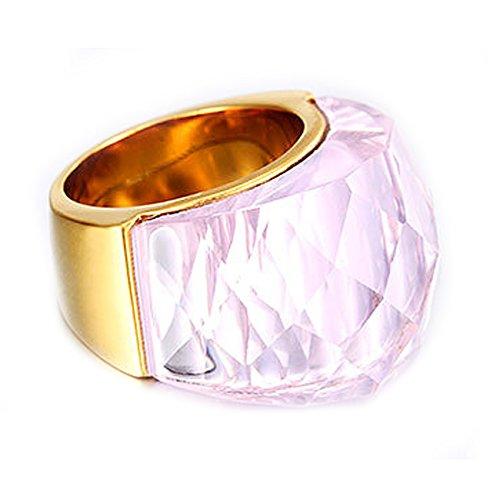 NELSON KENT Damen Edelstahl Halbe Pack Transparente Glas Ring Gold Rosa Größe57(18.1)