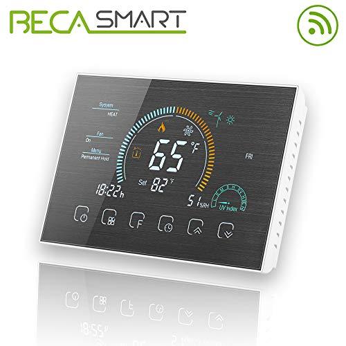 BecaSmart Series 8000 3A LCD Touch Screen Termostato di controllo programmazione Riscaldamento della caldaia intelligente con connessione WIFI (Riscaldamento della caldaia, Spazzolato SS(WIFI))