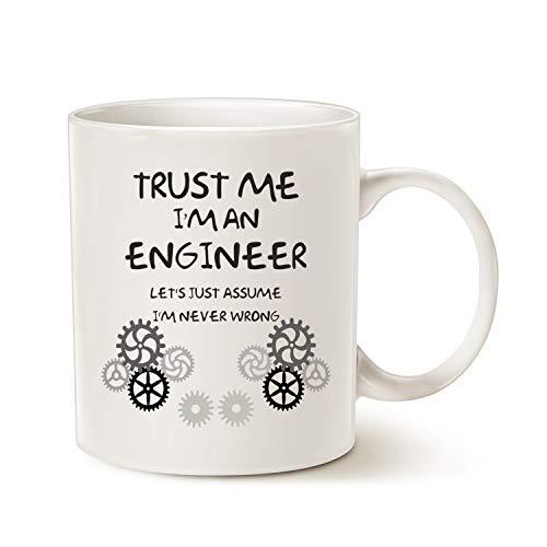 """Divertente tazza da caffè con scritta in inglese""""Trust Me I'm an Engineer"""", tazza in ceramica bianca, 325 ml"""