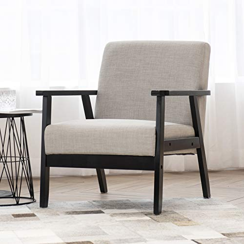 Art Leon Modern Fabric Upholstered Accent Chair,Solid Wood Frame Low Lounge Armchair for Living Room Bedroom Reception Apartment Dorms,Grey
