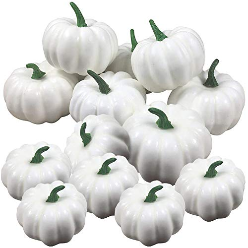 JINLE Künstliche weiße Kürbisse, Halloween-Mini-Kürbisse, Dekoration, künstliche Kürbisse haben 6 große Größen, 6 kleine Größen, für Hochzeit, Erntedankfest, Weihnachten, Halloween, 12 Stück