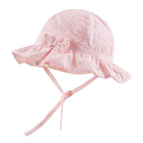 Pesaat Sombrero de Verano para bebé, niña, 100% algodón, con Silbato y Bordado para Primavera y Verano (Rosa, 3-6Meses, 3_Months)