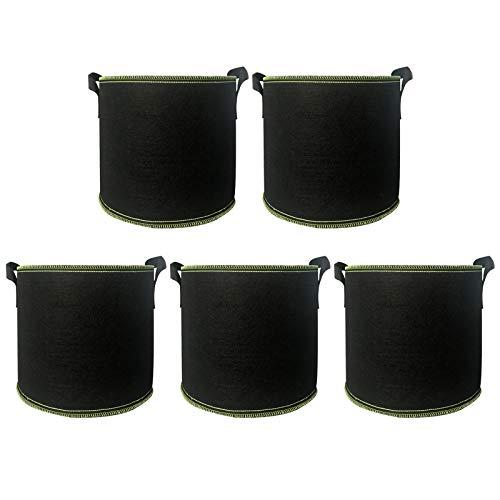 panthem Pflanztasche, 5 X 20L Pflanze Wachsende Tasche, Vliesstoff Pflanzsack mit Griffe für Tomaten, Blumen, Pflanzen und Mehr, Schwarz (5 Gallon/20 L)