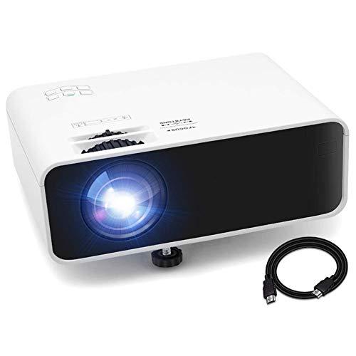 Mini Beamer Full HD 1080P Unterstützt Video Projektor Heimkino Beamer mit HiFi Stereo 5500 Lumen 200' Display 55000St. LED HDMI/AV/VGA/USB/TF/Audio Anschlüsse, kompatibel mit TV Stick Xbox DVD PC