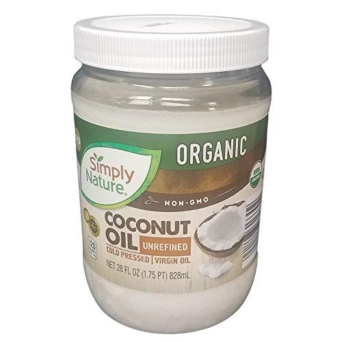 Simply Nature Organic Coconut Oil, Non-GMO, Unrefined, Cold Pressed, Virgin Oil, 28 fl oz
