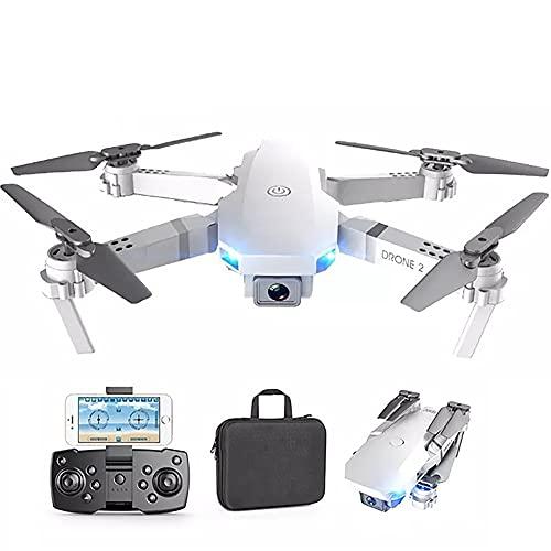 ドローンブラシレスモーター付き、RCクワッドコプター4Kカメラ付きキッズ大人初心者向けおもちゃライブビデオ30分の飛行時間GPSリターンホーム-白い(予備バッテリー1個+キャリングケース)