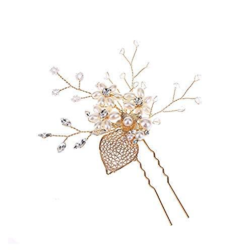 Oaisij Festival Hochzeit Legierung Blatt Strass Perle Blume Uförmige Haarnadel Haarverzierung