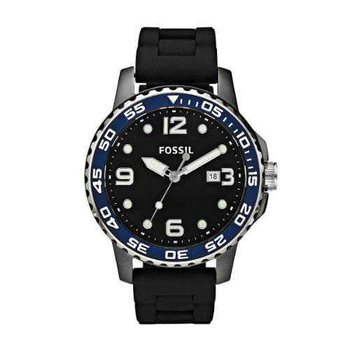 Fossil mannen zwart/blauw keramische horloge - Ce5004 met siliconen band