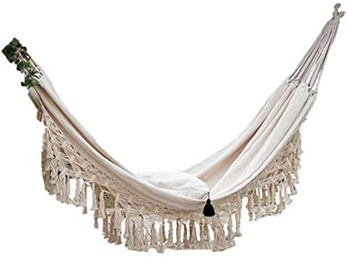 2 Person Hammock, Double Hammock Fringed lace mesh Chair for Outdoor/Indoor Hammock Swing,White