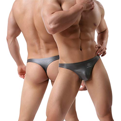 MuscleMate Premium Men's Thong Underwear, 2018 F/W Collections, Hot Men's Undie Thong Style, Premium Quality (XL, Grey)