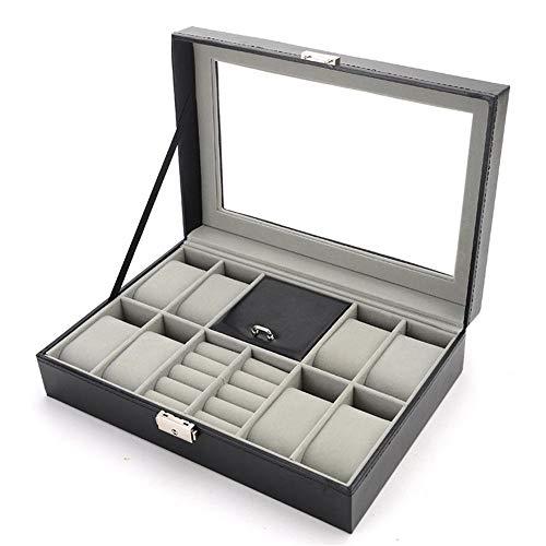 VDSON Elegante opslag horloge box herenhorloge organisator bewaardoos metalen gesp sieraden vitrine met echt glas top zwart