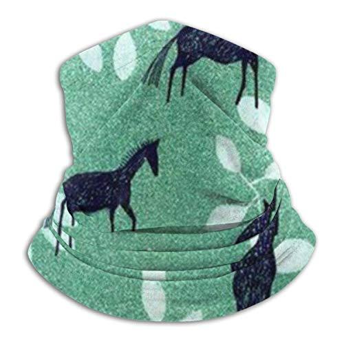 Xian Shiy Horse Leaves Pattern Fleece Neck Warmer - Wendehals-Gamasche, Vielseitigkeit Ohrwärmer Stirnband für Männer und Frauen