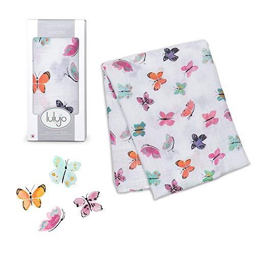 lulujo Baby Swaddle Blanket| Unisex Softest 100% Cotton Muslin Swaddle Blanket| Neutral Receiving Blanket for Girls & Boys | 47in x 47in Butterfly