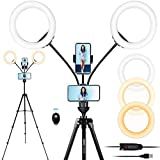 Xeneo 8'' Dual Ring Light with Tripod Stand & 2 Phone Holders for Double Brightness, LED Selfie Ring Light with Remote Shutter for Live Stream/YouTube/Video Recording/Makeup/Vlogging, up to 5.9ft Tall