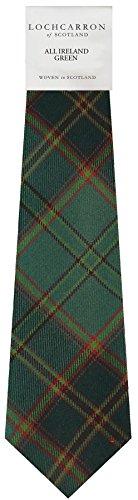 Gents Neck Tie All Ireland Green Irish Tartan Lightweight Scottish Clan Tie
