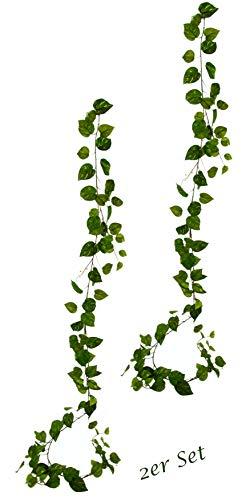 Künstliche Pothos Ranke Girlande, Unechter Phtos, Hängend, Kunst-Pflanze, Efeutute, Busch, Hänger, Wanddekoration, Kunstblumen, Künstliche Blumen, Pflanzen, Unechte Hängepflanzen, Reben, 2er Set