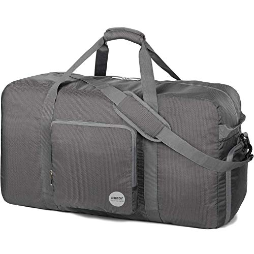 WANDF 28' Foldable Duffle Bag 80L for Travel Gym Sports Lightweight Luggage Duffel 28 inches (80 Liter), Grey 28''