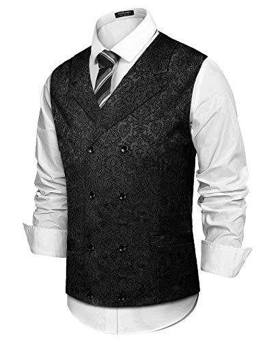 COOFANDY Mens Victorian Vest Steampunk Double Breasted Suit Vest Slim Fit Brocade Paisley Floral Waistcoat Black