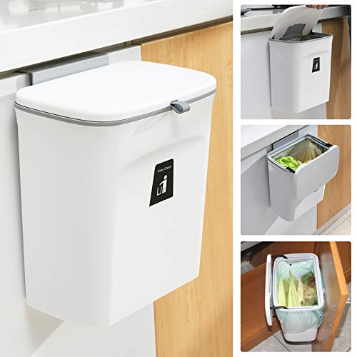 2.4 Gallon Kitchen Compost Bin for Counter Top or Under Sink, Hanging Small Trash Can with Lid for Cupboard Bathroom Bedroom Office Camping, Mountable Indoor Compost Bucket, White