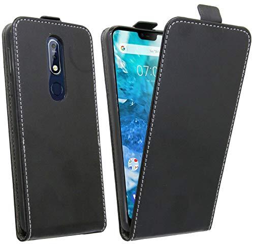 cofi1453 Flip Hülle kompatibel mit Nokia 7.1 (2018) Handy Tasche vertikal aufklappbar Schutzhülle Klapp Hülle Schwarz