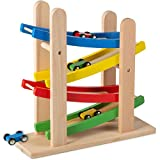 This Is Satisfaction - Great Gift For Birthday And Holidays For Students And Boys & Girls - Original By Play22USA Toddler Toys For 1 2 Year Old Boy And Girl Gifts Wooden Race Track Car Ramp Racer With 4 Wooden Cars - Race Car Ramp Set Once You Place ...