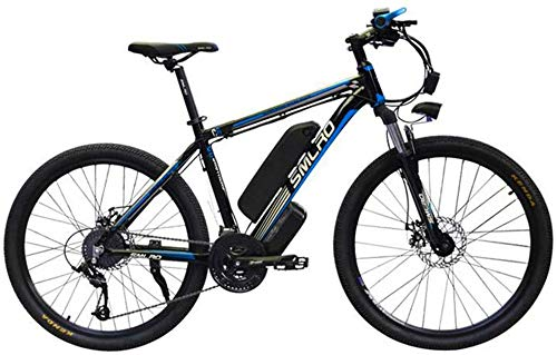 YAOSHUYANG Electric Bike 26' Electric Mountain Bike for Adults - 1000W Ebike with 48V 15AH Lithium Battery Professional Offroad Bicycle 27 Speed Gear Outdoor Cycling/Commute Bike (Color : Blue)