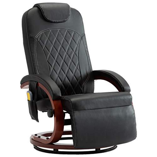 vidaXL TV Massagesessel mit Wärmefunktion Sessel Relaxsessel Relaxliege Fernsehsessel Liegesessel Ruhesessel Liegestuhl Schwarz Kunstleder