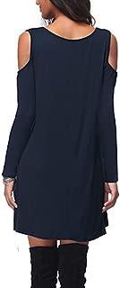 AIK Women's Long Sleeves Off-Shoulder V-Neck T-Shirt Shorts Dress/Elastic Waist Casual Sexy Midi Mini