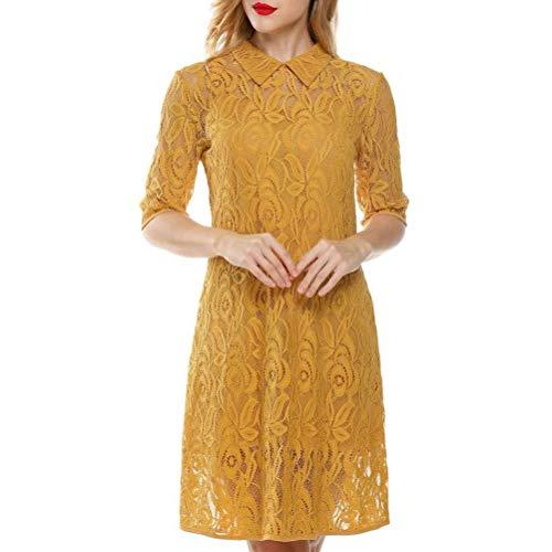 Vestidos Moda Mujer Elegante 2020 Style Clásico Stand Collar Mujer Encaje Dos Piezas Versa Slim Dress Vestido Verano Chicos (Color : Oro, Size : L)