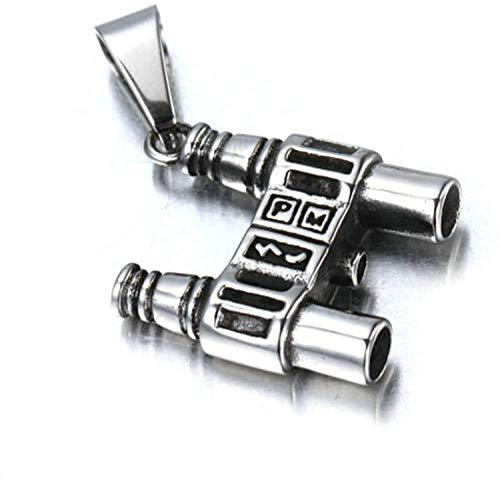 N/A Jewelry Herren-Halskette mit Anhänger Edelstahl Gothic Retro Fernglas silberfarben