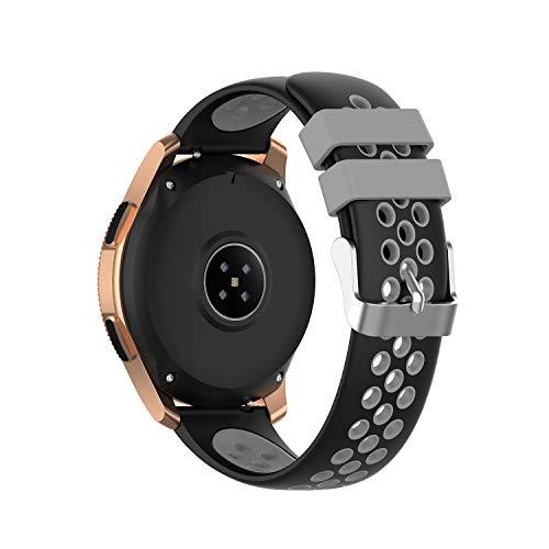 PINHEN Correa para Amazfit Bip - 20mm Silicona Correa de Repuesto para Galaxy Watch 42mm, Gear S2 Classic, Huawei Watch 2, Vivoactive 3, Ticwatch E, Ticwatch 2nd (Black Grey)