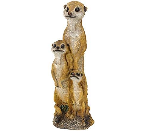Dehner Dekofigur Erdmännchen-Familie, ca. 16 x 14 x 48 cm, Polyresin, braun/weiß