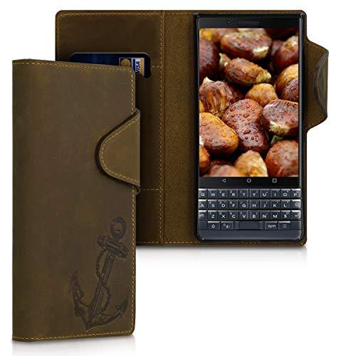 kalibri Wallet Hülle kompatibel mit BlackBerry KEYtwo LE (Key2 LE) - Hülle Leder - Handy Cover Handyhülle Anker Vintage Braun